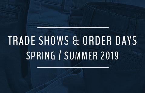 Tradeshows & Order days Spring/Summer 2019